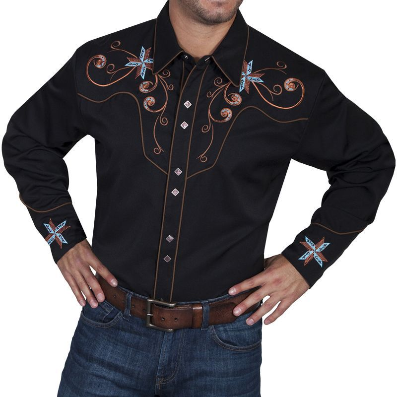 画像2: スカリー スクロール&クロス刺繍 ウエスタンシャツ(長袖/ブラック)/Scully Long Sleeve Embroidered Western Shirt(Men's)