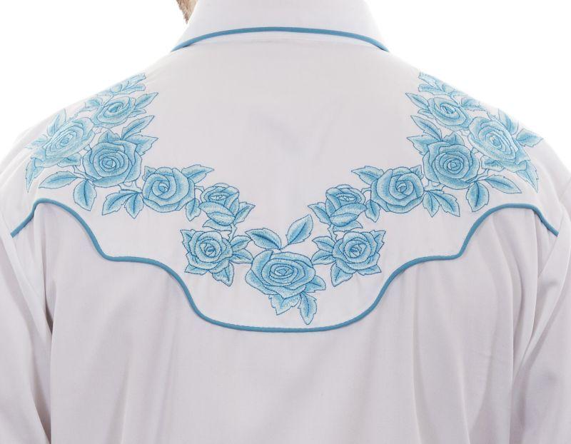 画像3: スカリー ターコイズローズ刺繍 ウエスタンシャツ(長袖/ホワイト)L/Scully Long Sleeve Embroidered Western Shirt(Men's)