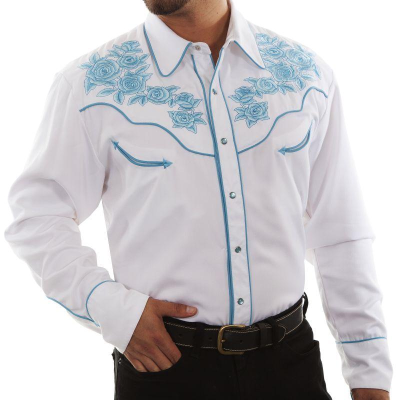 画像1: スカリー ターコイズローズ刺繍 ウエスタンシャツ(長袖/ホワイト)L/Scully Long Sleeve Embroidered Western Shirt(Men's)