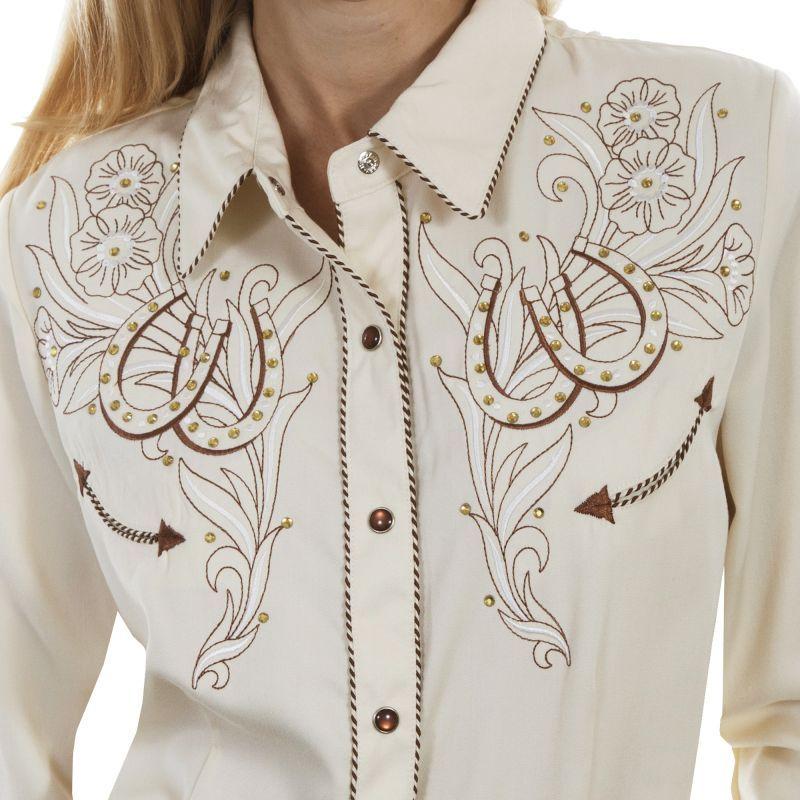 画像2: スカリー ローズ&ホースシュー刺繍 ラインストーン ウエスタン シャツ(長袖/クリーム)/Scully Long Sleeve Western Shirt(Women's)