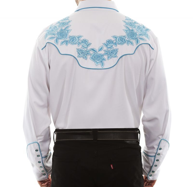 画像4: スカリー ターコイズローズ刺繍 ウエスタンシャツ(長袖/ホワイト)L/Scully Long Sleeve Embroidered Western Shirt(Men's)