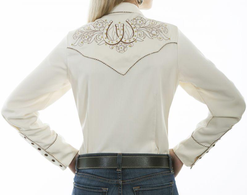 画像3: スカリー ローズ&ホースシュー刺繍 ラインストーン ウエスタン シャツ(長袖/クリーム)/Scully Long Sleeve Western Shirt(Women's)