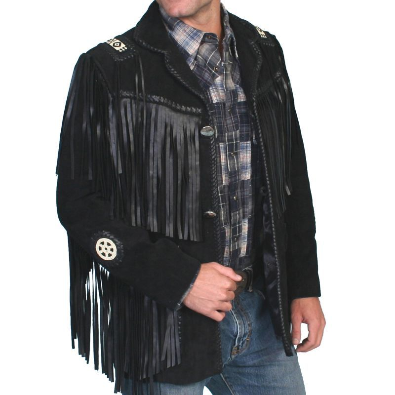 画像1: ウエスタン レザーフリンジジャケット(ブラック)/Western Leather Fringe Jacket (1)
