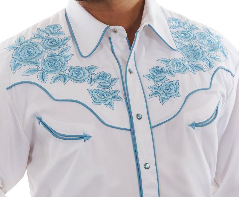 画像2: スカリー ターコイズローズ刺繍 ウエスタンシャツ(長袖/ホワイト)L/Scully Long Sleeve Embroidered Western Shirt(Men's)