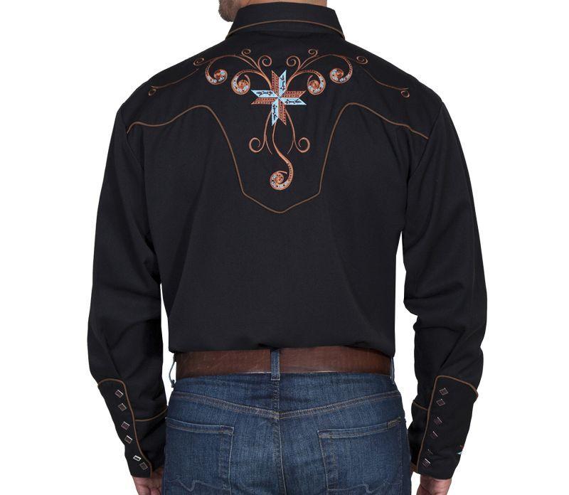 画像3: スカリー スクロール&クロス刺繍 ウエスタンシャツ(長袖/ブラック)/Scully Long Sleeve Embroidered Western Shirt(Men's)