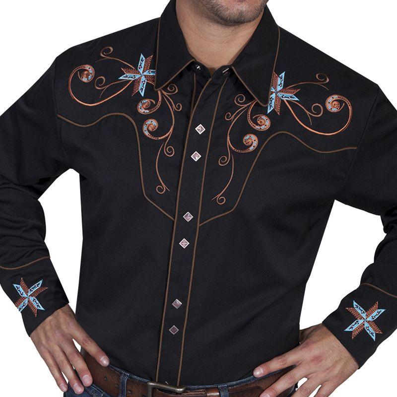 画像1: スカリー スクロール&クロス刺繍 ウエスタンシャツ(長袖/ブラック)/Scully Long Sleeve Embroidered Western Shirt(Men's)