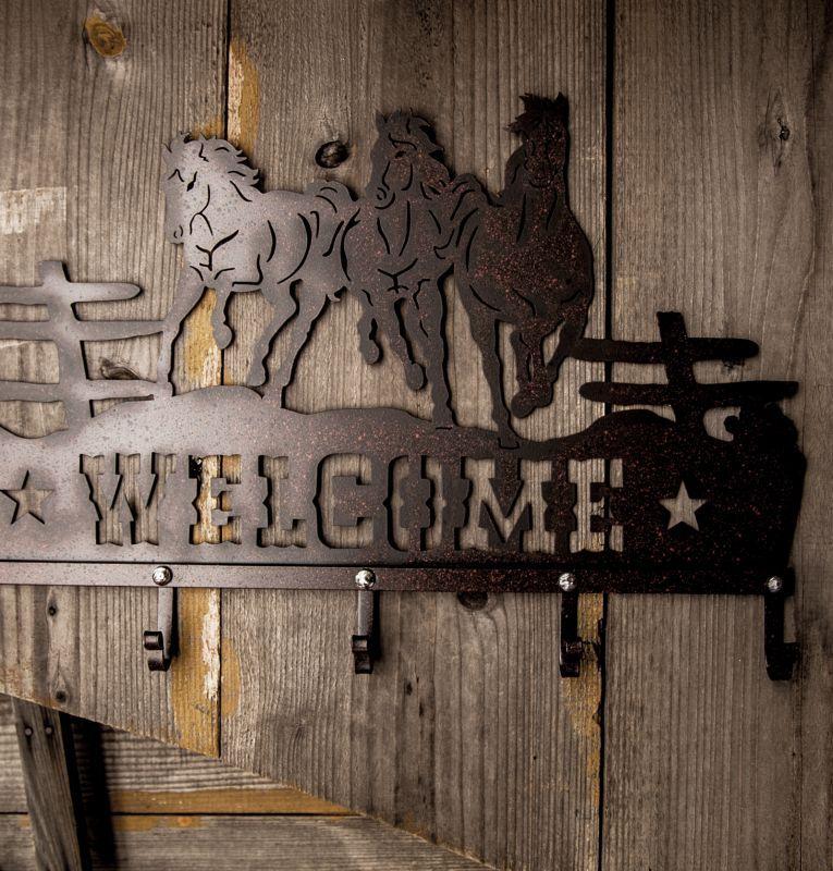 画像3: ランニングホース&スター ウエスタン ウェルカム ハンガー(ラストブラウン)/Metal Welcome Horse Welcome Hanger