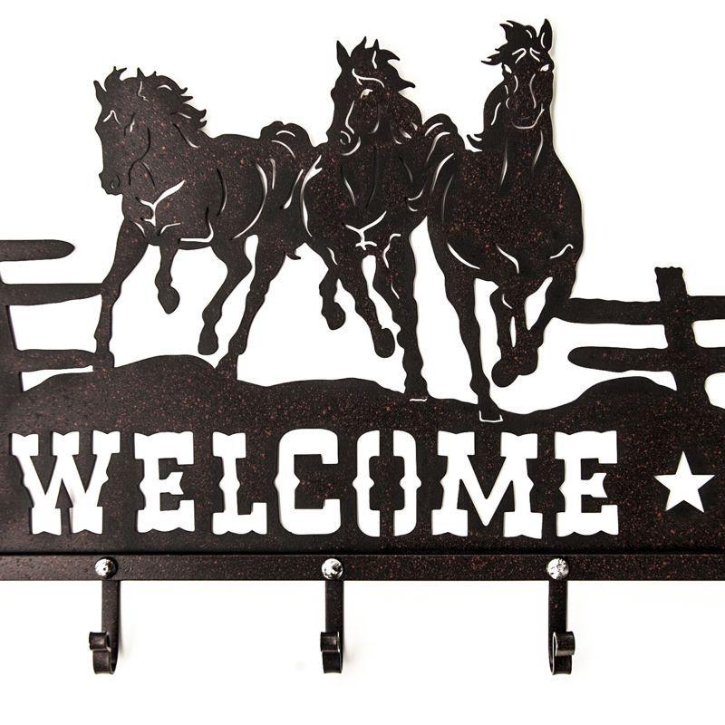 画像1: ランニングホース&スター ウエスタン ウェルカム ハンガー(ラストブラウン)/Metal Welcome Horse Welcome Hanger (1)