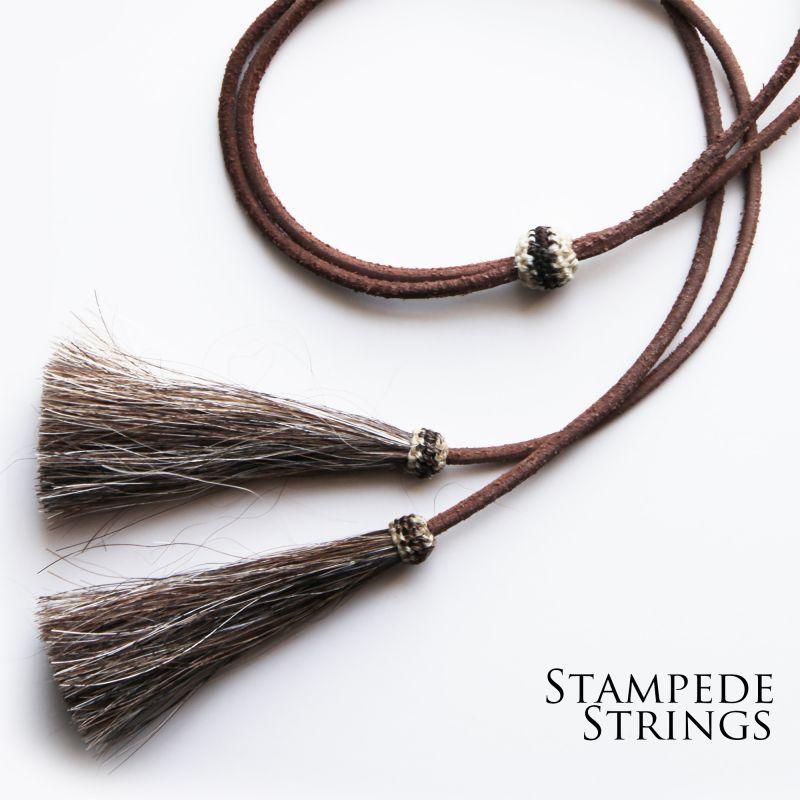 画像1: レザー ホースヘアー スタンピード ストリングス プレーン ブラウン・ブラウン(ハット用あごひも)/Leather w/horse Hair Stampede Strings