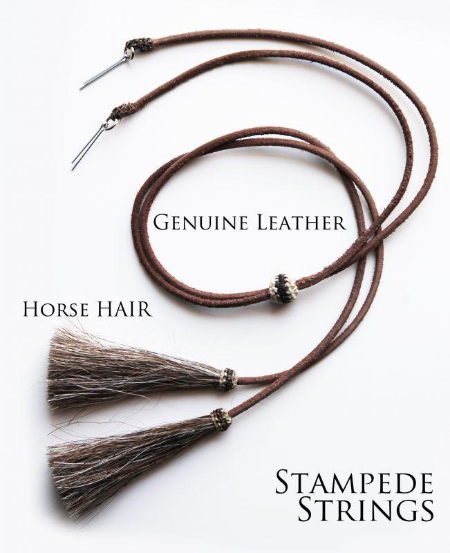 画像2: レザー ホースヘアー スタンピード ストリングス プレーン ブラウン・ブラウン(ハット用あごひも)/Leather w/horse Hair Stampede Strings