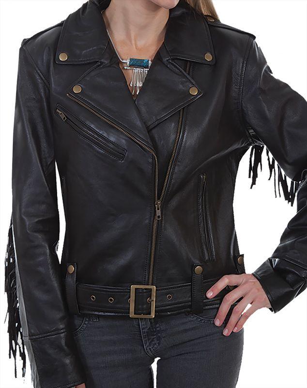 画像2: スカリー レディース ラムレザー フリンジ モーターサイクル ジャケット(ブラック)M/Scully Soft Touch Lamb Fringe Motorcycle Jacket(Black)