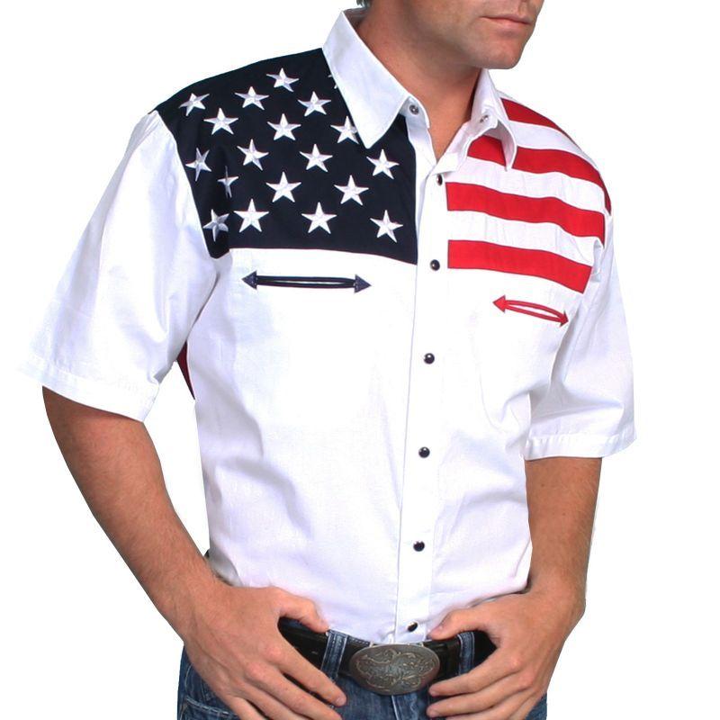 画像1: スカリー USA 刺繍シャツ(メンズ 半袖/アメリカンフラッグ)/Scully Short Sleeve Western Shirt (1)