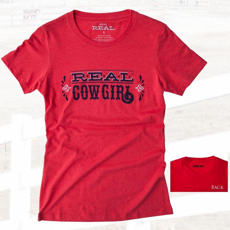 画像1: アリアット レディース 半袖Tシャツ リアルカウガール(レッド)/Ariat Women's Western T-shirt(Red) (1)