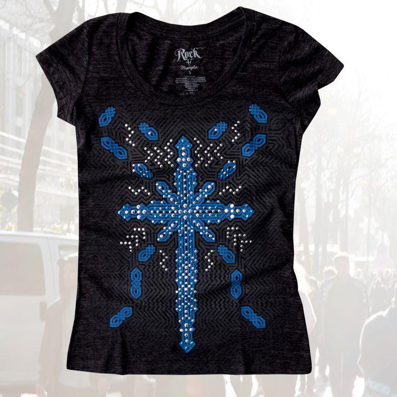 画像1: ラングラー ラインストーン レディース ウエスタン Tシャツ ビンテージブラック(半袖)S/Wrangler Rock47 Women's Western T-shirt(Vintage Black)