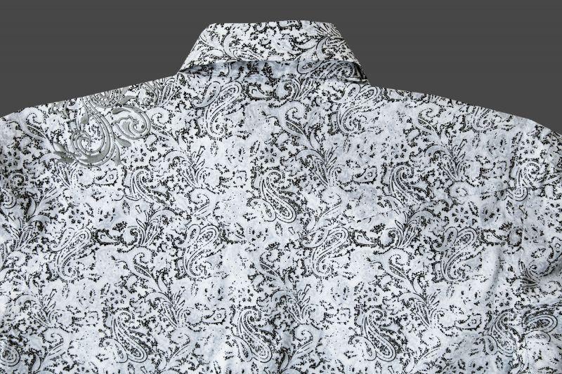 画像3: パンハンドル ラフストック 刺繍&ペイズリー ウエスタンシャツ(ホワイト・ブラック/長袖)/Rough Stock Long Sleeve Western Shirt by Panhandle Western Wear