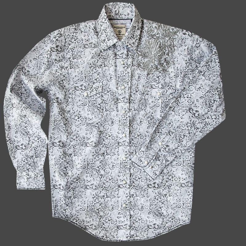 画像1: パンハンドル ラフストック 刺繍&ペイズリー ウエスタンシャツ(ホワイト・ブラック/長袖)/Rough Stock Long Sleeve Western Shirt by Panhandle Western Wear (1)