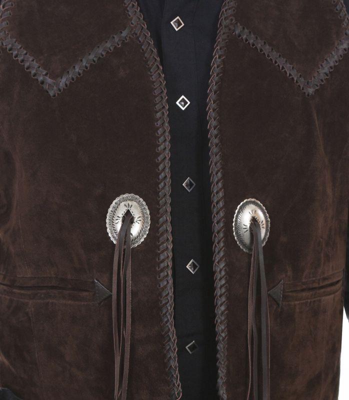 画像2: スカリー ハンドレース&コンチョ ウエスタン フリンジ レザー ベスト(ブラウン)/Scully Handlaced Concho Vest(Expresso)