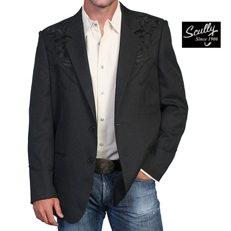 画像1: スカリー フローラル刺繍 ウエスタン ジャケット・ブレザー(ブラック)/Scully Floral Embroidery Blazer(Black)
