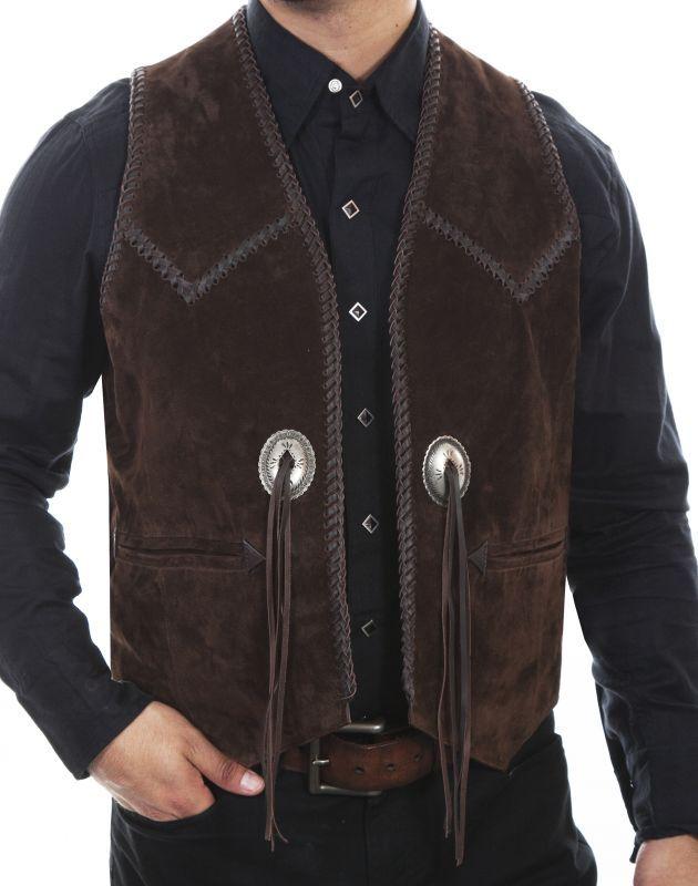 画像4: スカリー ハンドレース&コンチョ ウエスタン フリンジ レザー ベスト(ブラウン)/Scully Handlaced Concho Vest(Expresso)