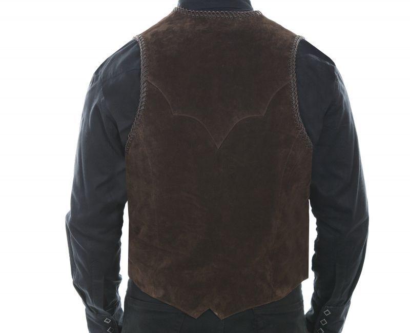 画像3: スカリー ハンドレース&コンチョ ウエスタン フリンジ レザー ベスト(ブラウン)/Scully Handlaced Concho Vest(Expresso)