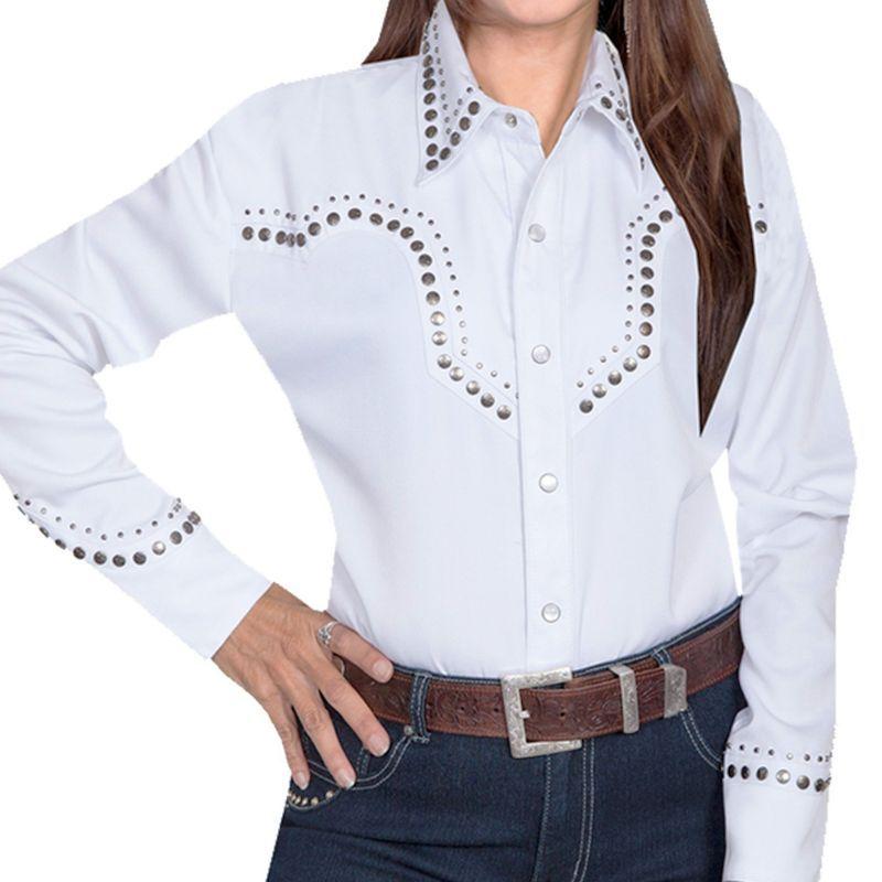 画像1: スカリー スタースタッズ ウエスタン シャツ(長袖/ホワイト)XS/Scully Long Sleeve Western Shirt(Women's)