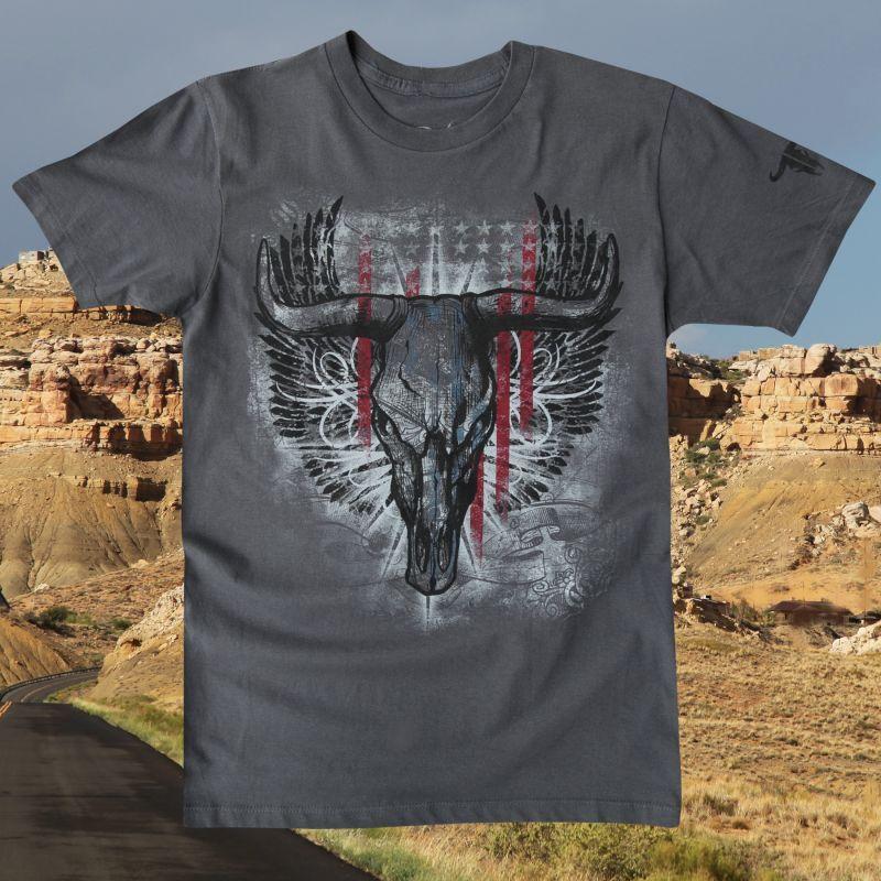 画像1: ラングラー ロック47 ウエスタン Tシャツ ロングホーン(半袖)/Wrangler Rock 47 T-shirt