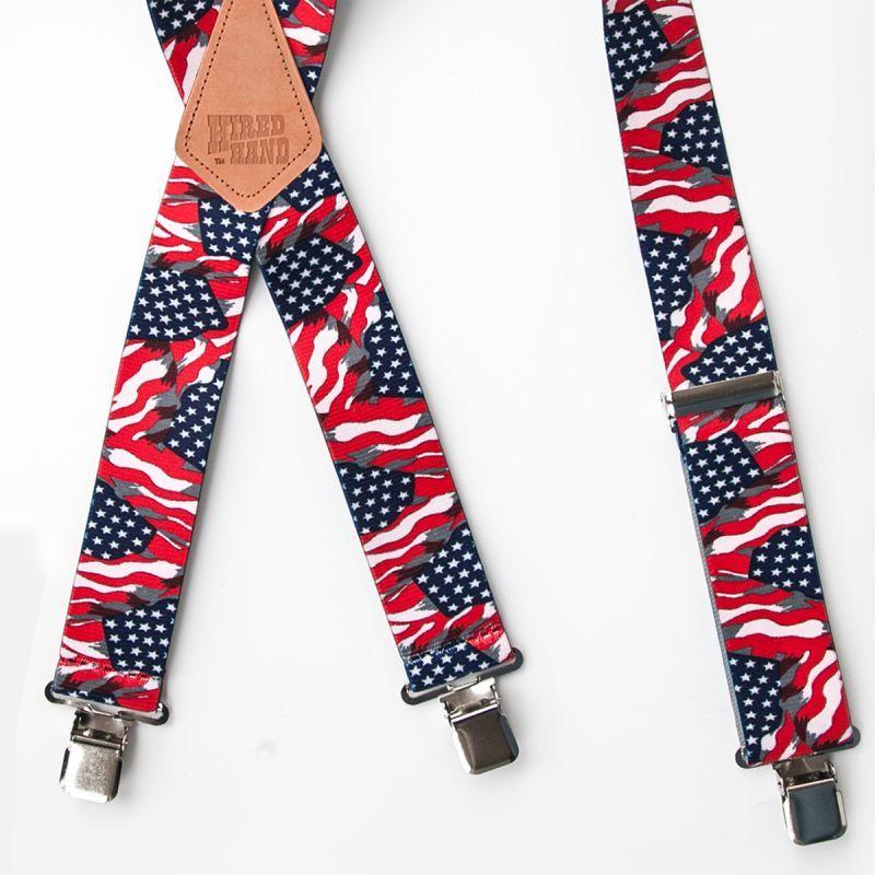 画像2: サスペンダー クリップ式(アメリカンフラッグ)/M&F Western Products Clip Suspenders(Red/White/Blue)