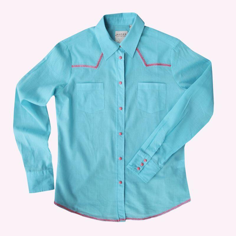 画像1: ローパー ステッチ ウエスタンシャツ ターコイズ・ピンク(長袖/レディース)/Roper Long Sleeve Western Shirt(Women's)