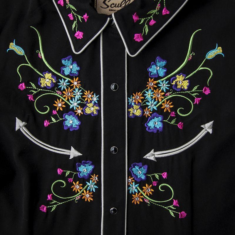 画像2: スカリー ラインストーン・フローラル刺繍 ウエスタンシャツ ブラック キャップスリーブM/Scully Western Shirt(Women's)