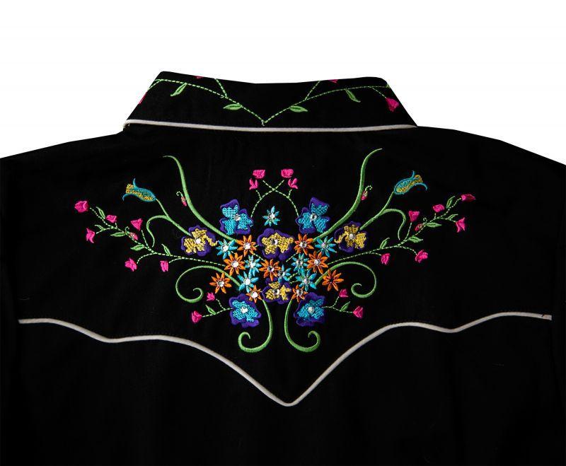 画像4: スカリー ラインストーン・フローラル刺繍 ウエスタンシャツ ブラック キャップスリーブM/Scully Western Shirt(Women's)
