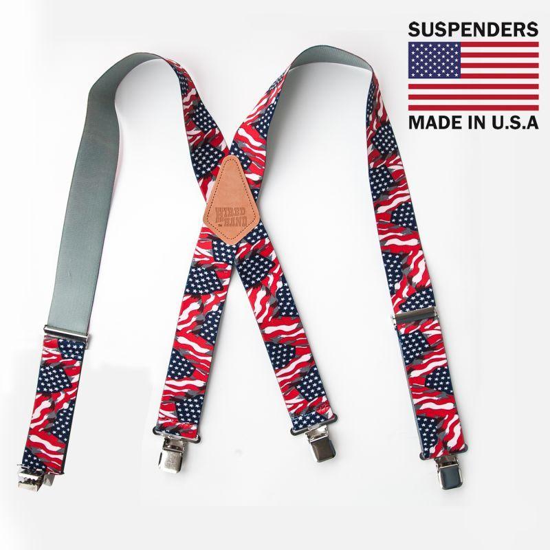 画像1: サスペンダー クリップ式(アメリカンフラッグ)/M&F Western Products Clip Suspenders(Red/White/Blue)