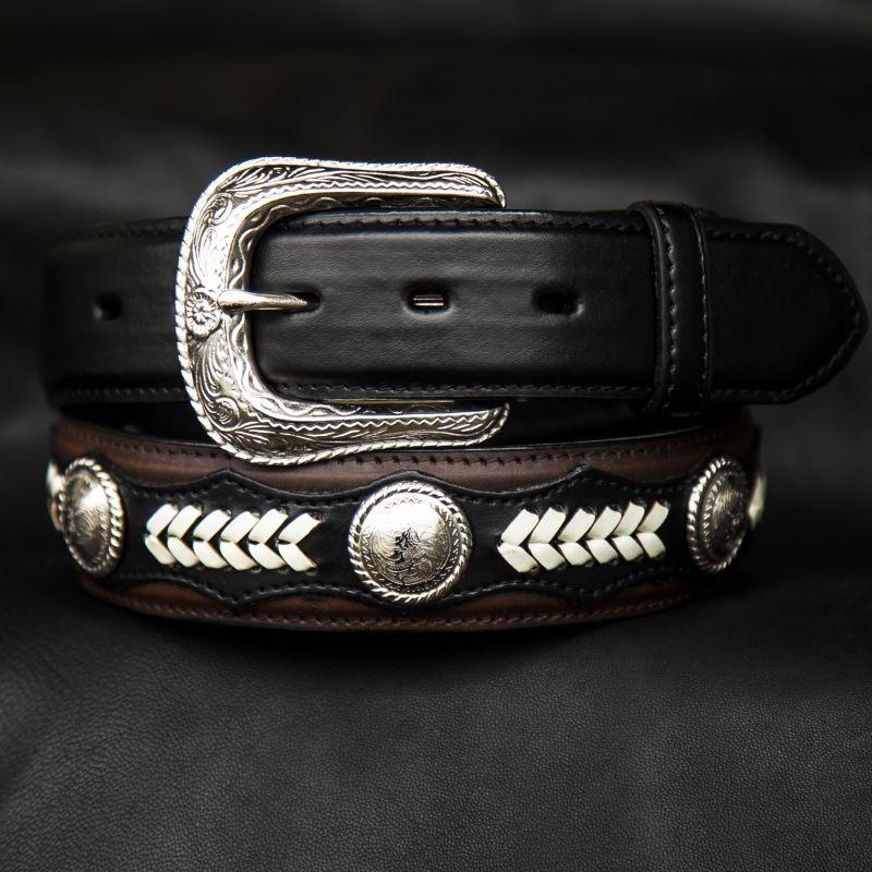 画像1: ノコナ ツートン コンチョ ウエスタン ベルト(ブラウン・ブラック)/Nocona Hired Hand Western Belt(Brown/Black)