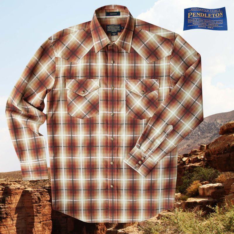 画像1: ペンドルトン ウエスタン シャツ ブロンズプラッドS/Pendleton Western Shirt Bronze Plaid (1)