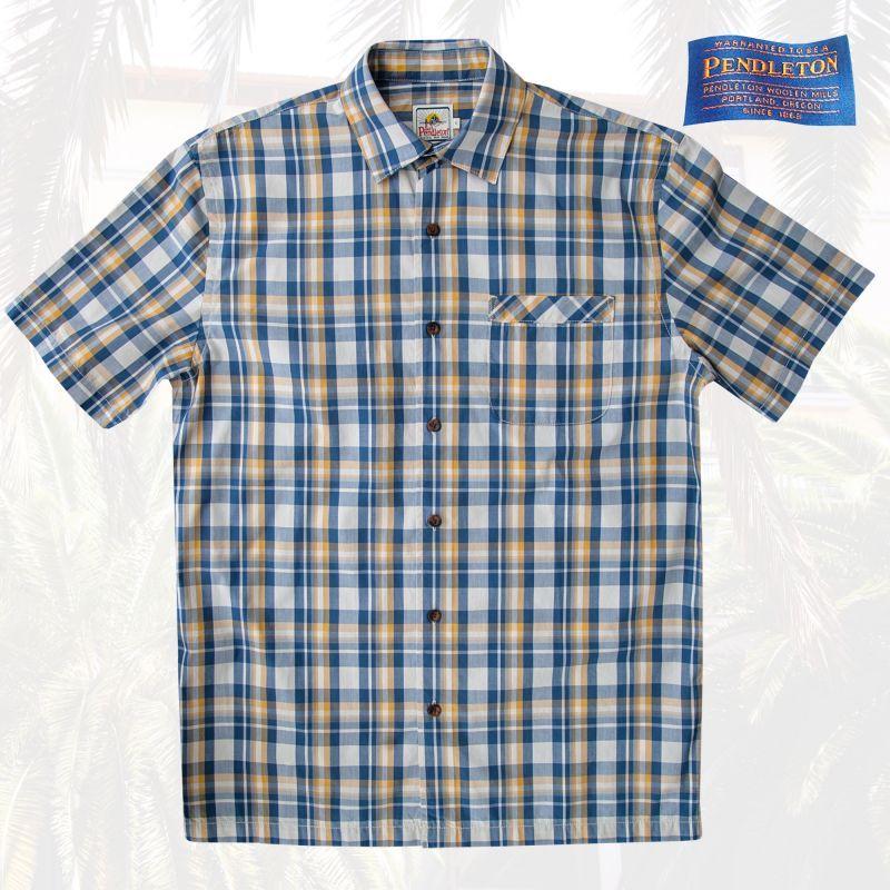 画像1: ペンドルトン 半袖 シャツ(ネイビー・イエロー)S/Pendleton Short Sleeve Surf Shirt (1)