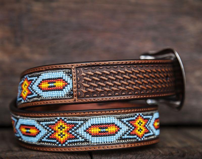 画像3: ビーズ ウエスタン レザーベルト(ブラウン・ターコイズ)/Western Leather Belt(Brown/Turq)