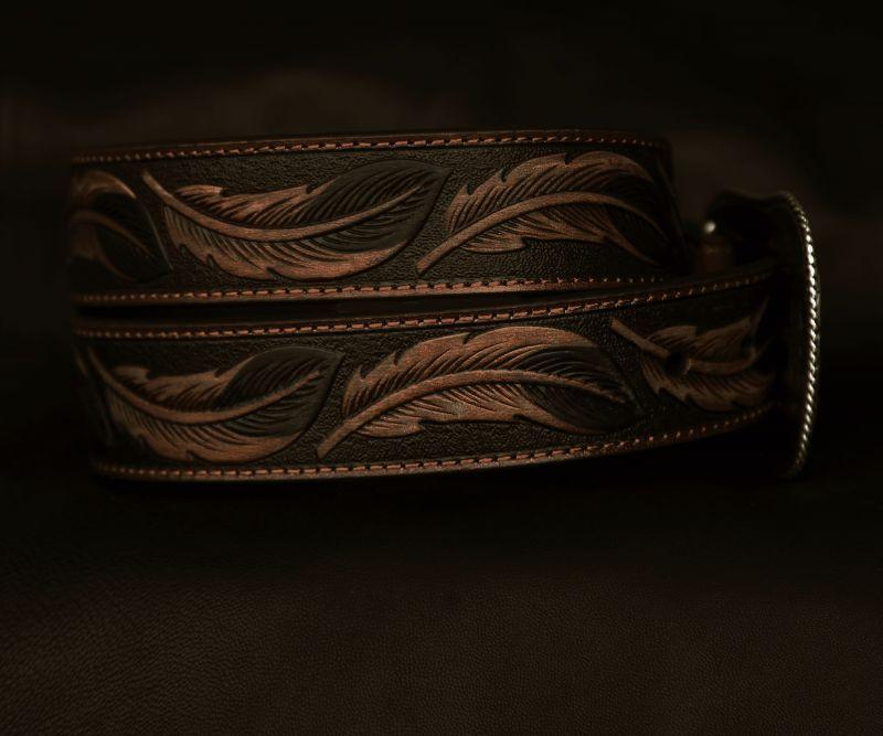 画像4: アリアット リーフ&フラワー・スクロール ウエスタン レザーベルト(ブラウン)/Ariat Embossed Leaf Design Western Leather Belt(Brown)