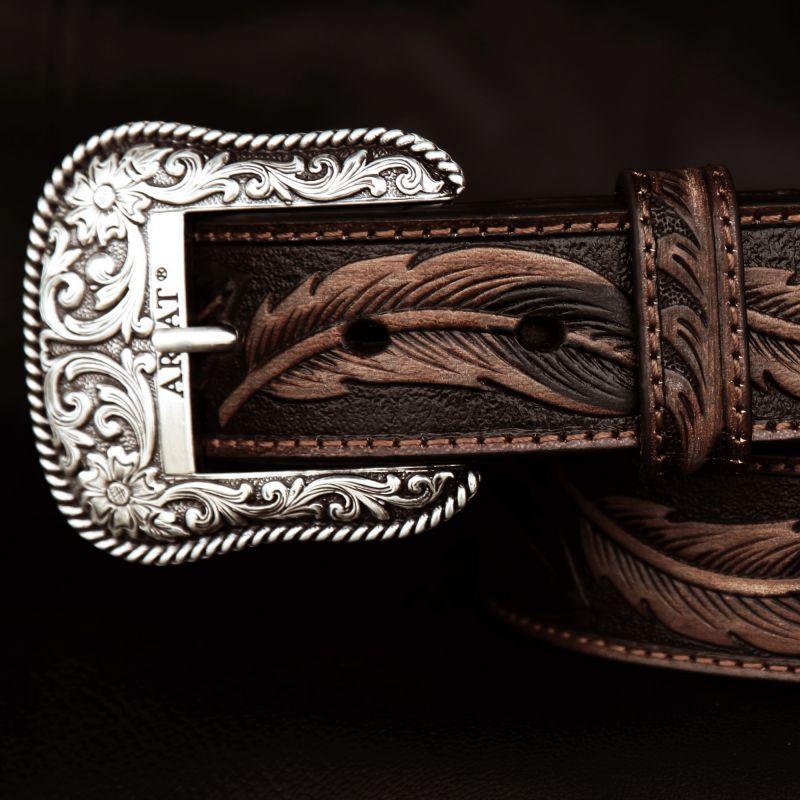画像3: アリアット リーフ&フラワー・スクロール ウエスタン レザーベルト(ブラウン)/Ariat Embossed Leaf Design Western Leather Belt(Brown)