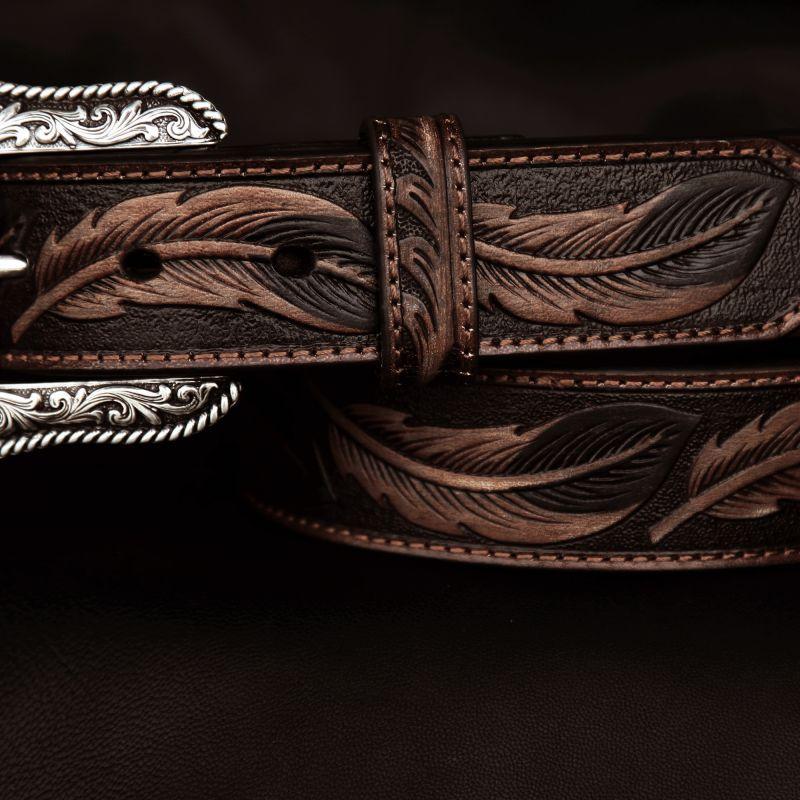 画像2: アリアット リーフ&フラワー・スクロール ウエスタン レザーベルト(ブラウン)/Ariat Embossed Leaf Design Western Leather Belt(Brown)