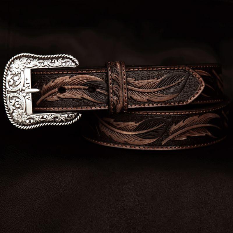画像1: アリアット リーフ&フラワー・スクロール ウエスタン レザーベルト(ブラウン)/Ariat Embossed Leaf Design Western Leather Belt(Brown) (1)