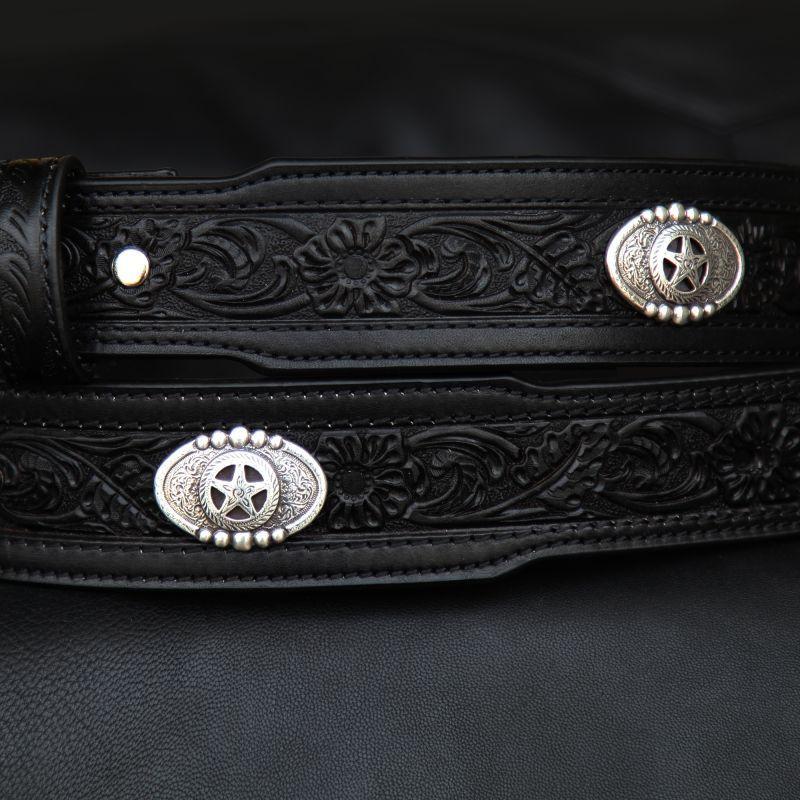 画像2: スターコンチョ&フラワー レザーベルト(ブラック)34/Western Floral Embossed Leather Belt(Black)