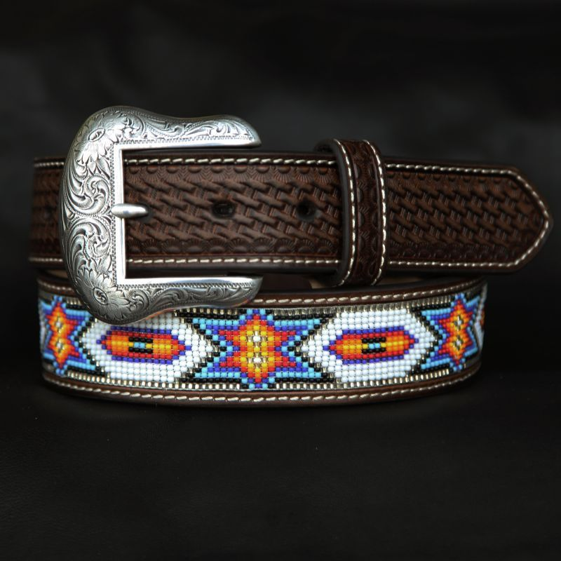 画像1: ビーズ ウエスタン レザーベルト(ブラウン・ホワイト)/Western Leather Belt(Brown/White) (1)