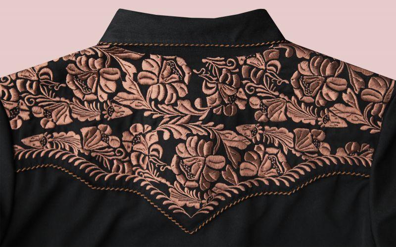 画像3: スカリー フローラル刺繍 ウエスタンシャツ ブラック キャップスリーブM/Scully Western Shirt(Women's)