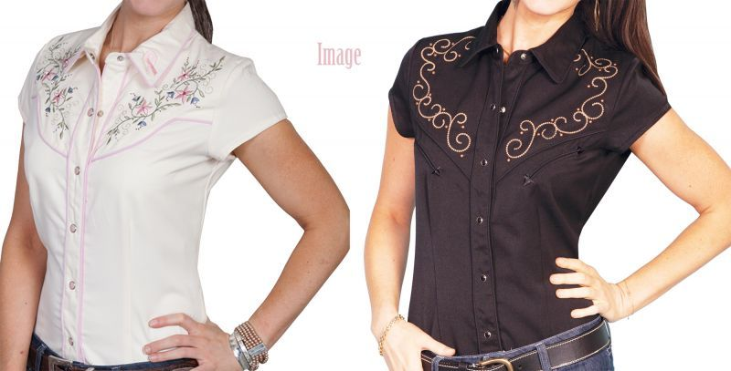 画像4: スカリー フローラル刺繍 ウエスタンシャツ ブラック キャップスリーブM/Scully Western Shirt(Women's)