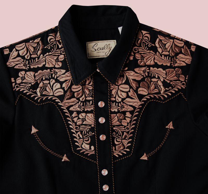 画像2: スカリー フローラル刺繍 ウエスタンシャツ ブラック キャップスリーブM/Scully Western Shirt(Women's)