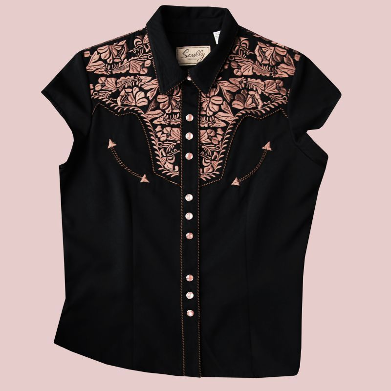 画像1: スカリー フローラル刺繍 ウエスタンシャツ ブラック キャップスリーブM/Scully Western Shirt(Women's)