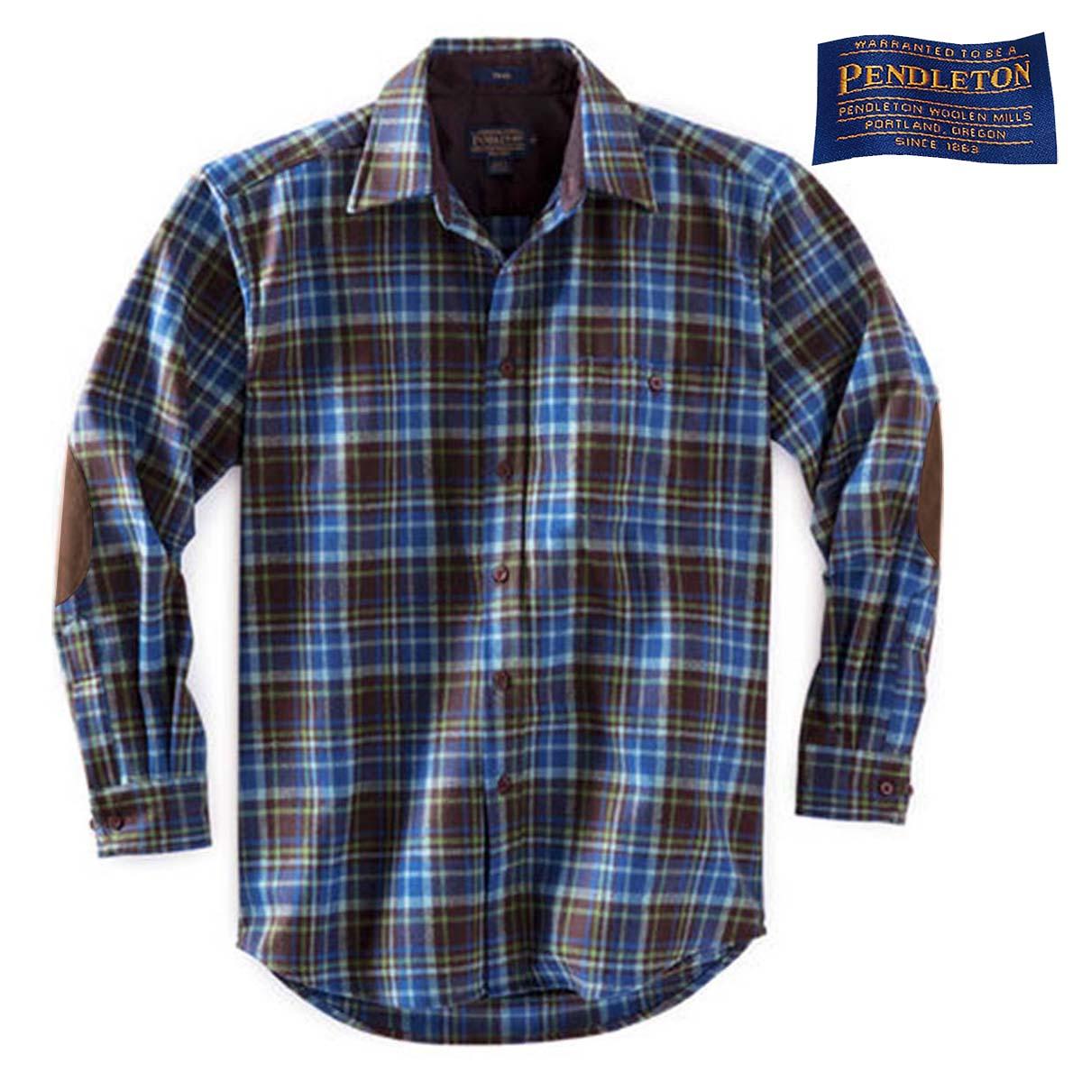 画像1: ペンドルトン ピュアー ヴァ-ジン ウール シャツ・エルボーパッチ トレイルシャツ ブルー・ブラウンプラッドS/Pendleton Trail Shirt (Blue/Brown Plaid)