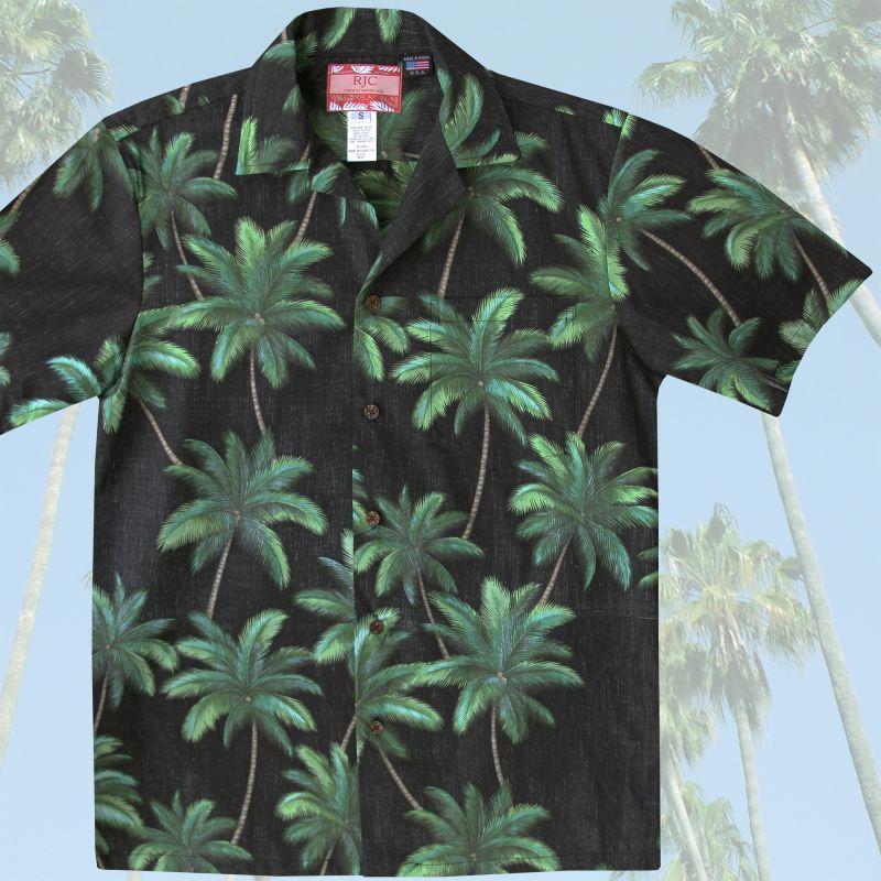 画像1: RJC ロバート・J・クランシー アロハシャツ パームツリー(ブラック・グリーン)/RJC Aloha Shirt
