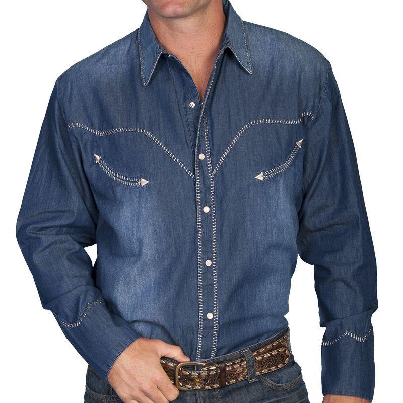 画像1: スカリー ウイップステッチ ウエスタン デニム シャツ(長袖)L/Scully Long Sleeve Western Denim Shirt