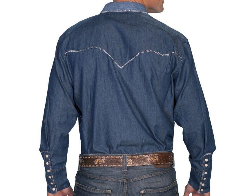 画像2: スカリー ウイップステッチ ウエスタン デニム シャツ(長袖)L/Scully Long Sleeve Western Denim Shirt