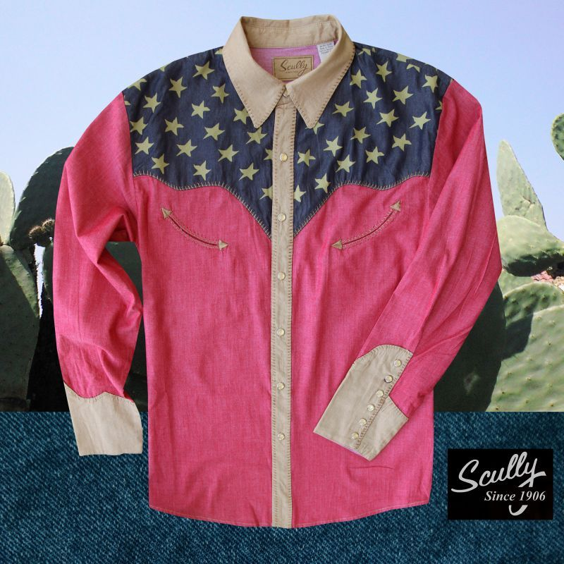 画像1: スカリー アメリカンフラッグ ピックステッチ ウエスタン シャツ レッド(メンズ・長袖)S/Scully Pick Stitch Patriotic Shirt(Red)